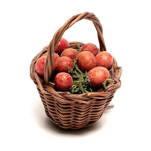 Miniature apple basket, for 12 cm Neapolitan nativity 1
