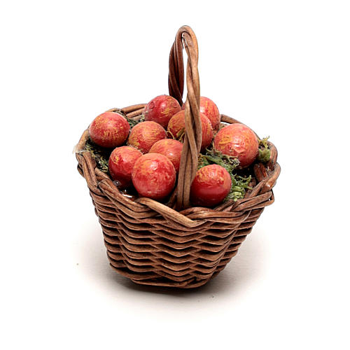 Miniature apple basket, for 12 cm Neapolitan nativity 3