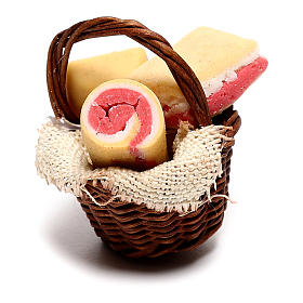 Basket with bacon for Neapolitan Nativity scene of 12 cm s1