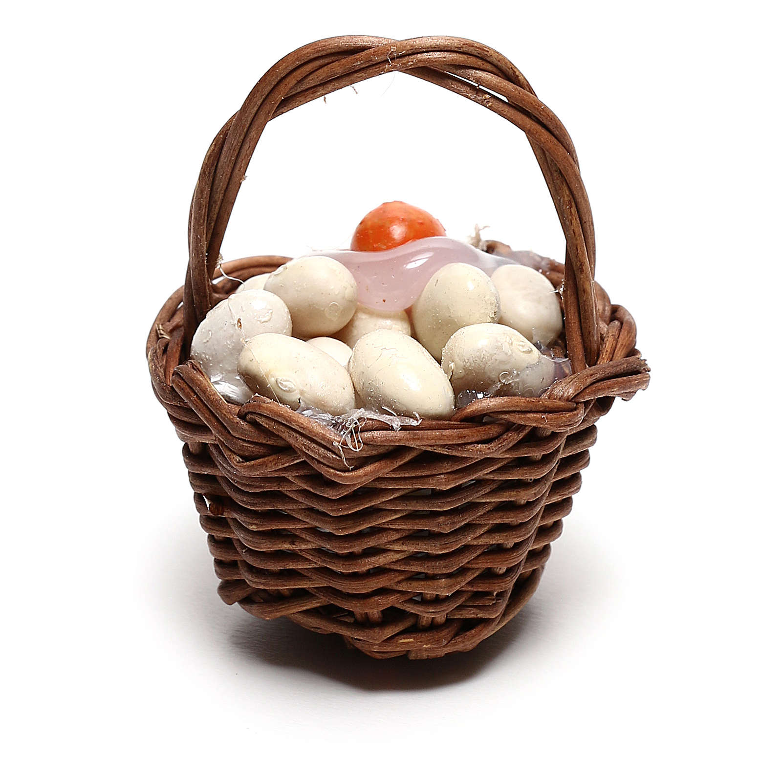 Basket with eggs for Neapolitan Nativity scene of 12 cm 4