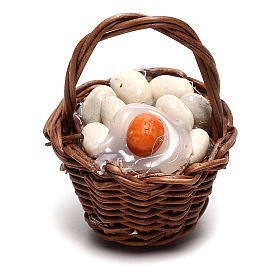 Basket with eggs for Neapolitan Nativity scene of 12 cm s1