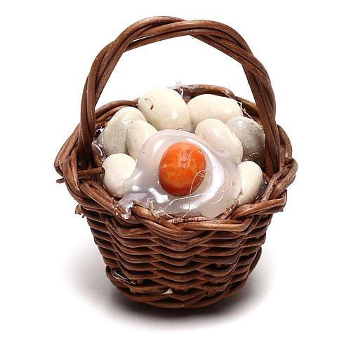 Basket with eggs for Neapolitan Nativity scene of 12 cm 1