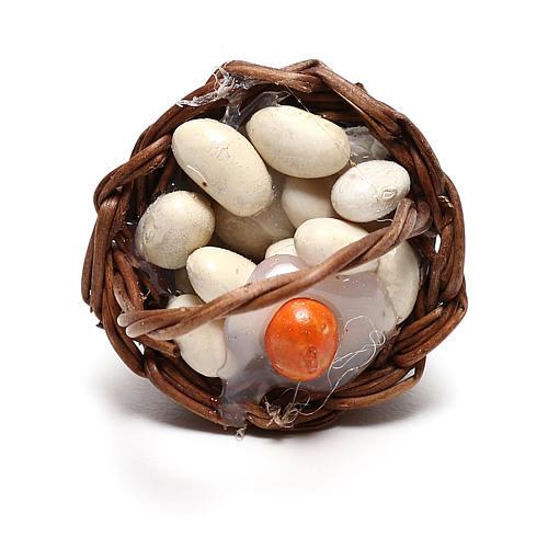 Basket with eggs for Neapolitan Nativity scene of 12 cm 2