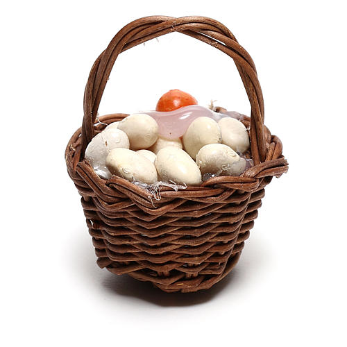 Basket with eggs for Neapolitan Nativity scene of 12 cm 3