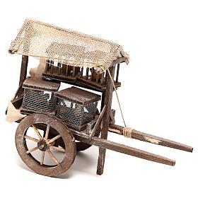 Carro vendedor de jaulas 10x5x15 cm belén napolitano 14 cm s1