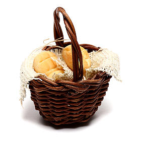Basket with bread for Neapolitan Nativity scene of 12 cm s3