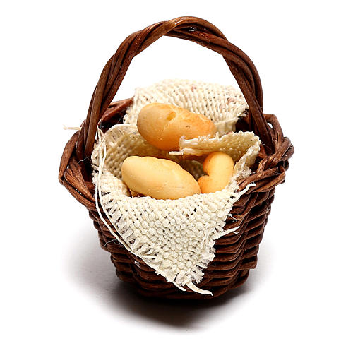 Basket with bread for Neapolitan Nativity scene of 12 cm 1