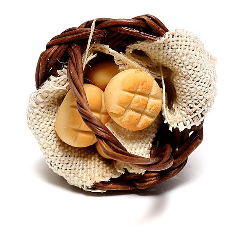 Basket with bread for Neapolitan Nativity scene of 12 cm 2