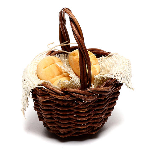 Basket with bread for Neapolitan Nativity scene of 12 cm 3