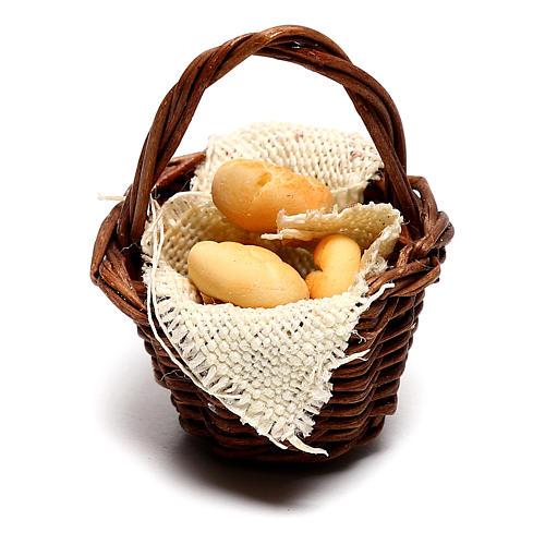 Cesto con pane per presepe napoletano di 12 cm 1