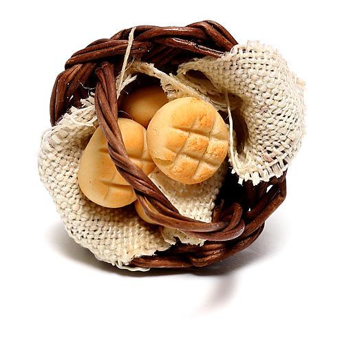 Cesto con pane per presepe napoletano di 12 cm 2