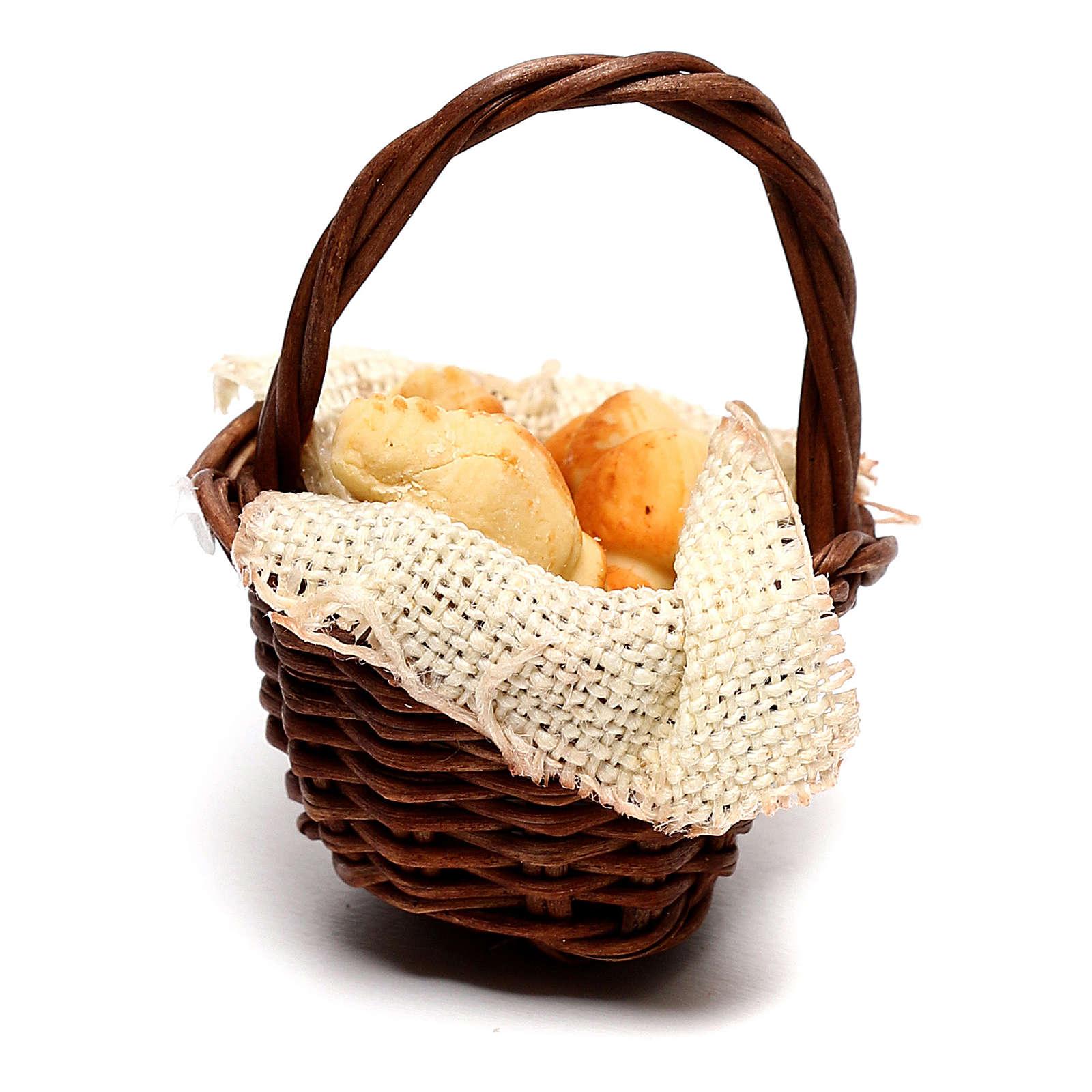 Basket with croissants for Neapolitan Nativity scene of 12 cm 4