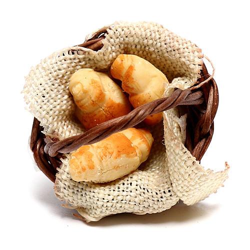 Basket with croissants for Neapolitan Nativity scene of 12 cm 2