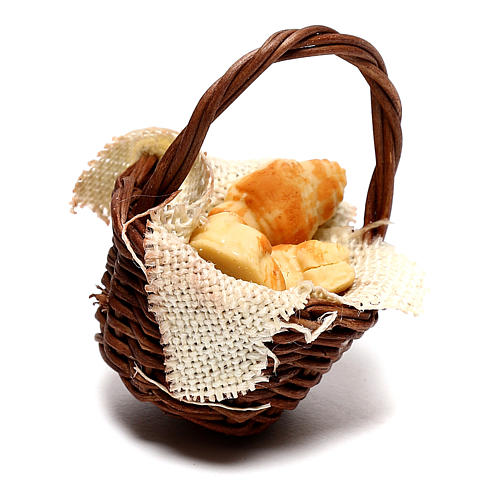 Basket with croissants for Neapolitan Nativity scene of 12 cm 3