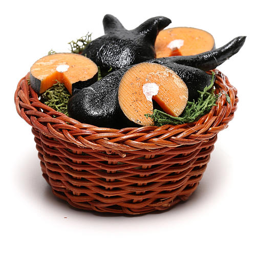 Round basket with fish, for 24 cm Neapolitan nativity 3