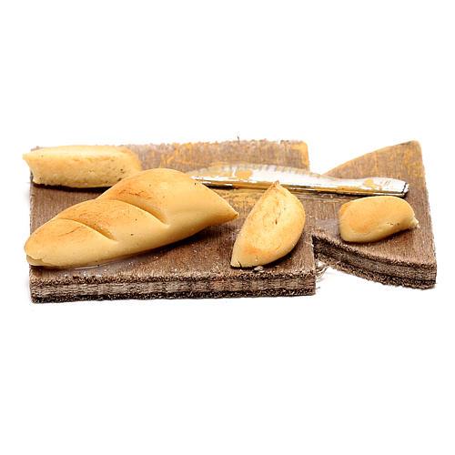 Tagliere con pane per presepe napoletano di 24 cm 1