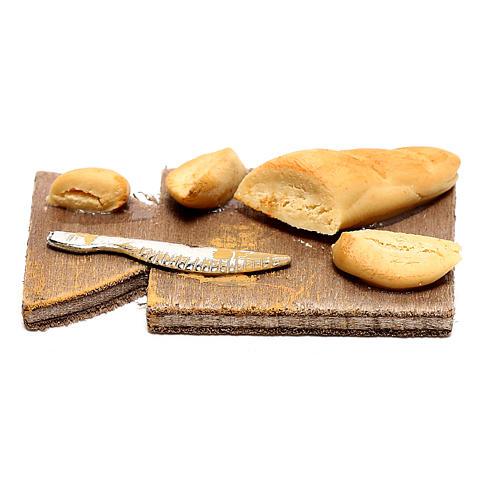 Tagliere con pane per presepe napoletano di 24 cm 3