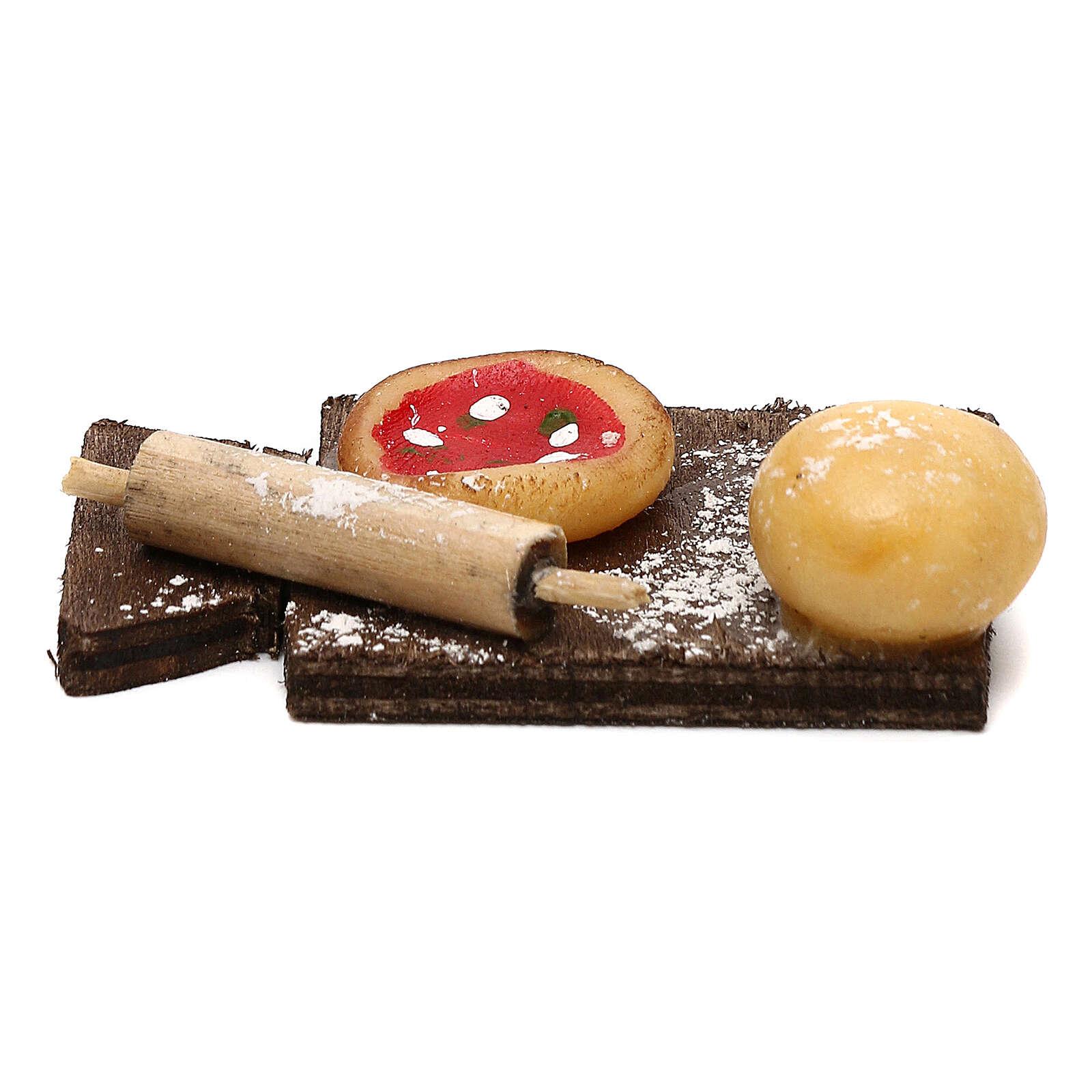 Tabla de cortar con pizza para belén napolitano de 24 cm 4