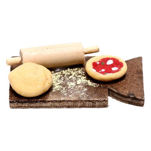 Planche avec pizza pour crèche napolitaine 24 cm 1