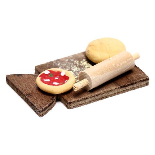 Planche avec pizza pour crèche napolitaine 24 cm 2