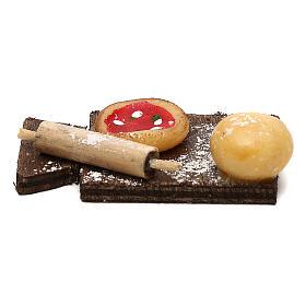 Tagliere con pizza per presepe napoletano di 24 cm s3