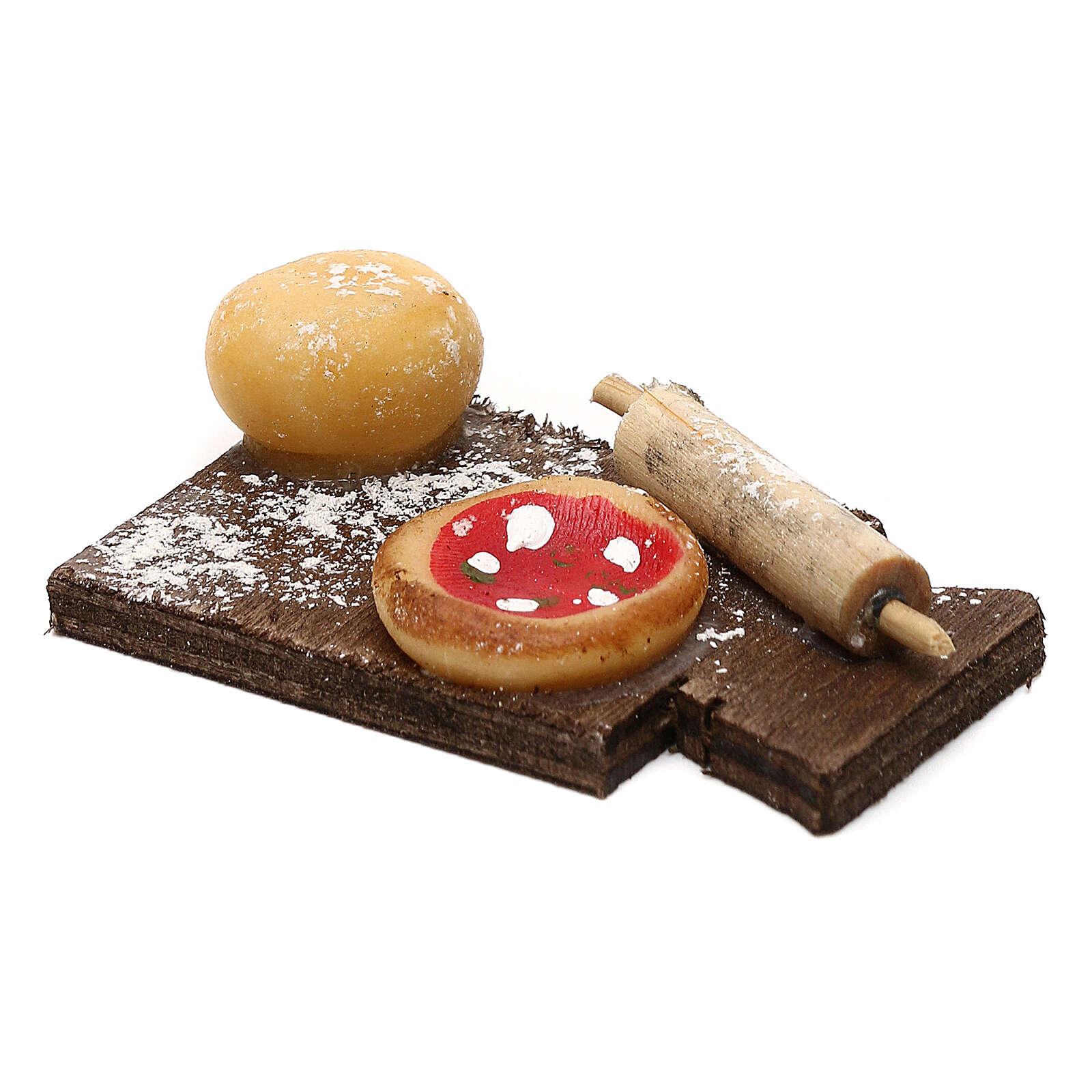 Miniature pizza on cutting board, for 24 cm Neapolitan nativity 4