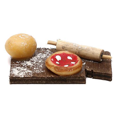 Miniature pizza on cutting board, for 24 cm Neapolitan nativity 1
