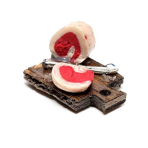 Tabla de cortar con tocino para belén napolitano de 12 cm 2