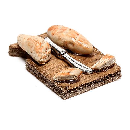 Tabla de cortar con rebanadas de pan para belén napolitano de 12 cm 2