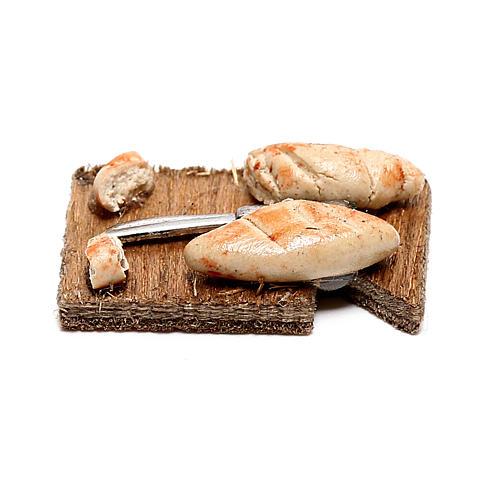 Tabla de cortar con rebanadas de pan para belén napolitano de 12 cm 3