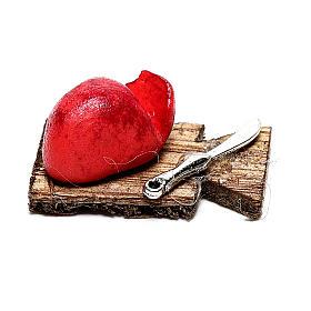 Tabla de cortar con tajadas de carne para belén napolitano de 12 cm s1