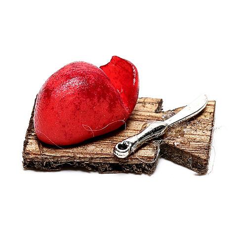 Tabla de cortar con tajadas de carne para belén napolitano de 12 cm 1