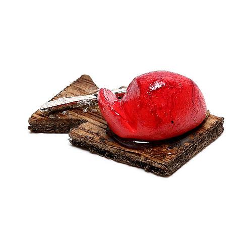 Tabla de cortar con tajadas de carne para belén napolitano de 12 cm 2