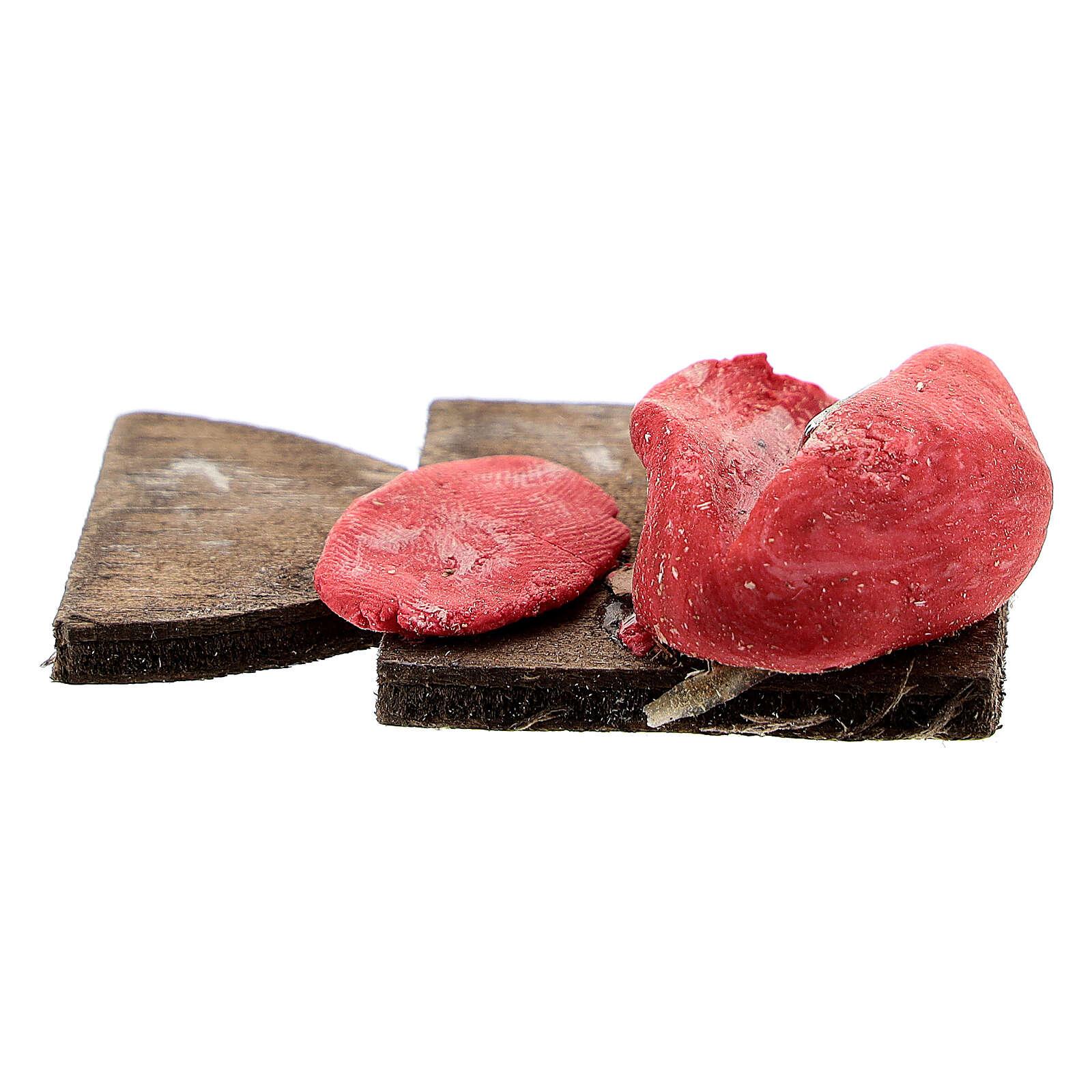 Tagliere con carne a fette per presepe napoletano di 12 cm 4