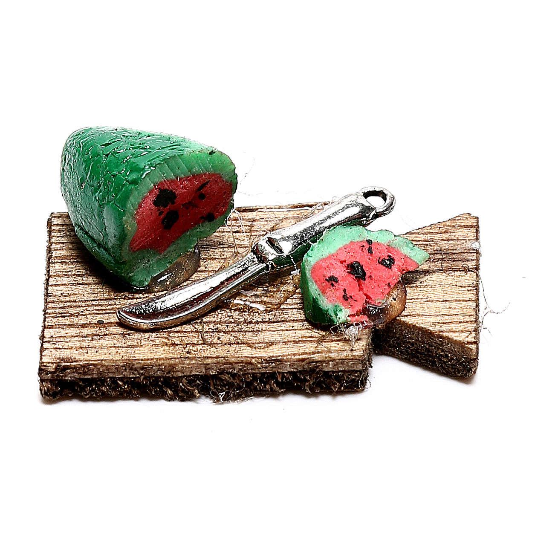 Tábua de corta com melancia fatiada para presépio napolitano com figuras de 12 cm de altura média 4