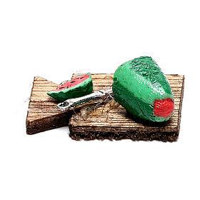 Presépio Napolitano: Tábua de corta com melancia fatiada para presépio napolitano com figuras de 12 cm de altura média