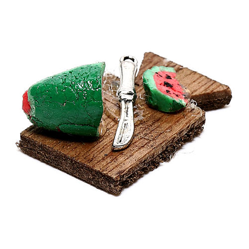 Tábua de corta com melancia fatiada para presépio napolitano com figuras de 12 cm de altura média 2