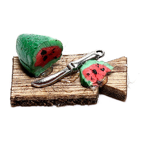 Tábua de corta com melancia fatiada para presépio napolitano com figuras de 12 cm de altura média 3