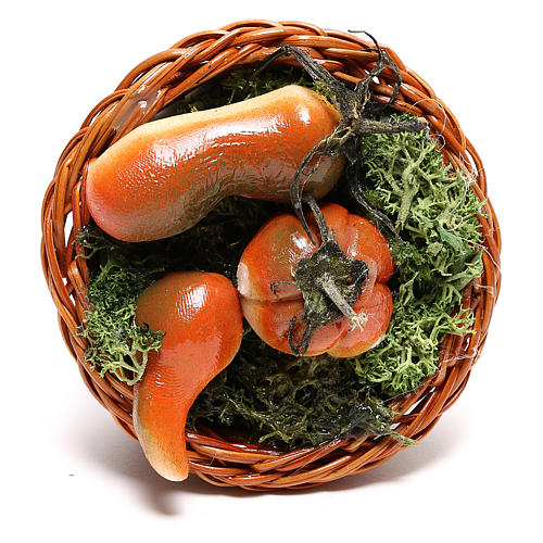 Round basket with pumpkin for Neapolitan Nativity scene of 24 cm 2