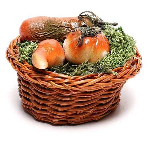 Round basket with pumpkin for Neapolitan Nativity scene of 24 cm 3