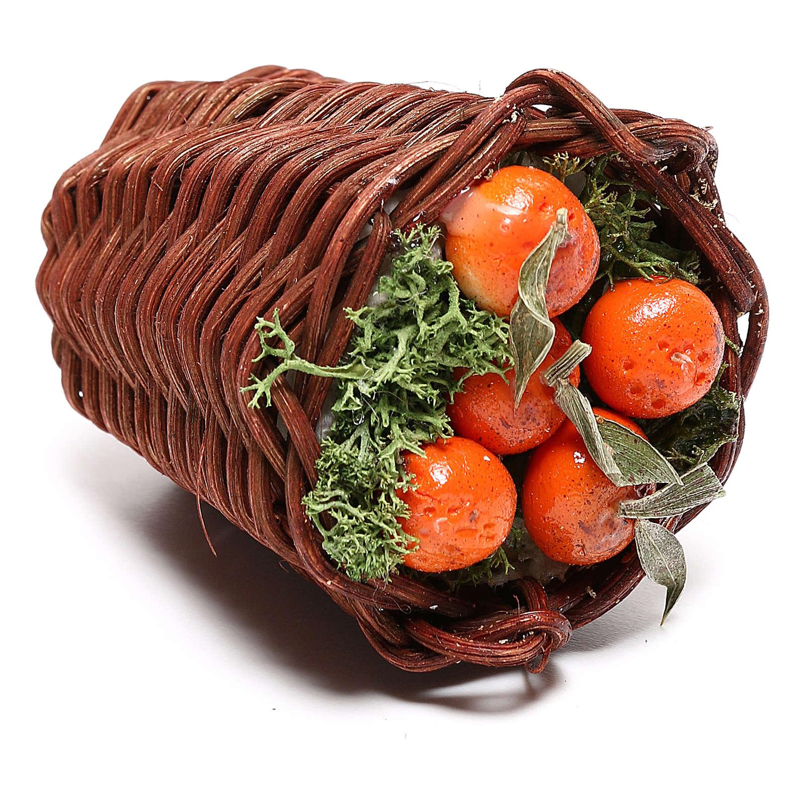 Panier allongé avec oranges pour crèche napolitaine 24 cm 4