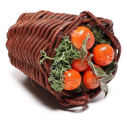 Panier allongé avec oranges pour crèche napolitaine 24 cm 2