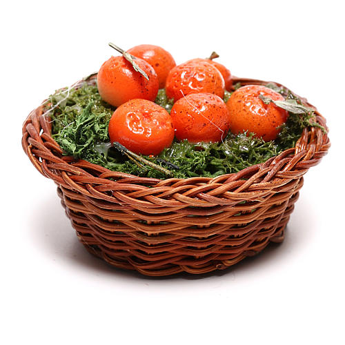 Round basket with oranges for Neapolitan Nativity scene of 24 cm 3