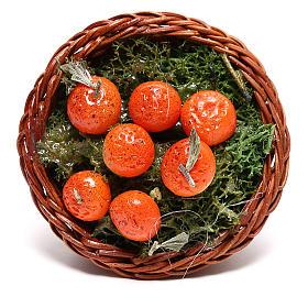 Panier rond avec oranges pour crèche napolitaine 24 cm s2