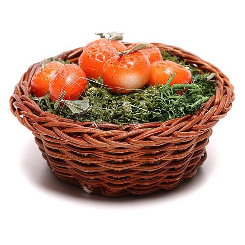 Panier rond avec oranges pour crèche napolitaine 24 cm 1