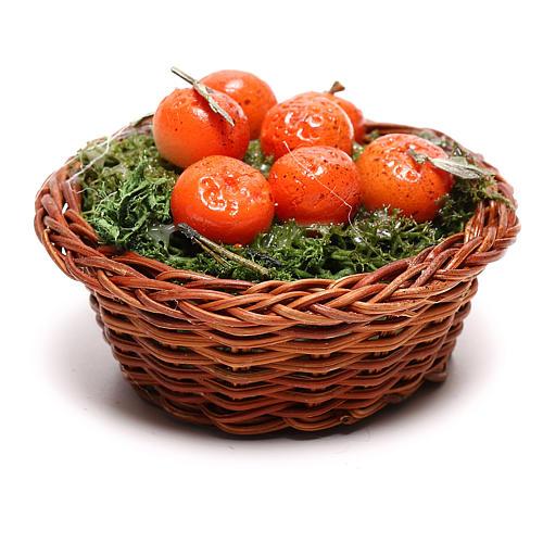 Panier rond avec oranges pour crèche napolitaine 24 cm 3