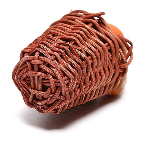 Cesta larga con calabaza para belén napolitano de 24 cm 3