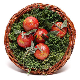 Round basket with apples for Neapolitan Nativity scene of 24 cm s2