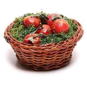Round basket with apples for Neapolitan Nativity scene of 24 cm s3