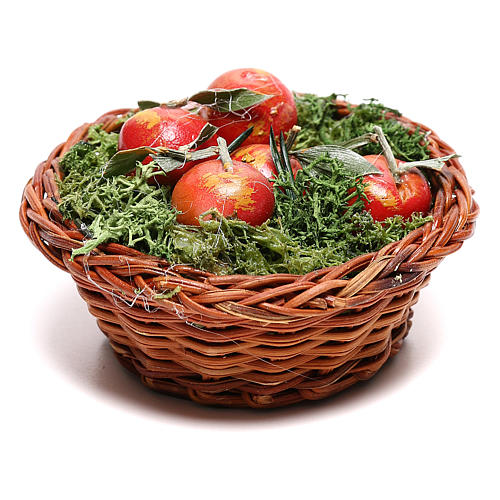 Round basket with apples for Neapolitan Nativity scene of 24 cm 1